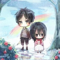 chibi Eren and Mikasa. I really like the art of this. It's so cute too!