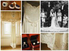 Wedding dress by David Fielden, veil by Pronovias