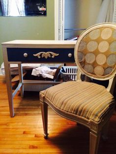 White/blue wooden desk and chair $20 set
