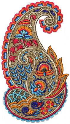 Large Embroidered Paisley Patch with Sequins More