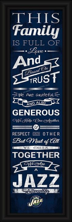 """- Officially licensed - Full-color print - Features an inspiring message and lets everyone know who your family cheers for - Print is handsomely framed under glass and measures 8"""" x 24"""" - Features the"""