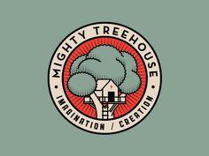 Mighty Treehouse - Contemporary logo badge (by Alex Rinker). Logo Branding, Typography Logo, Branding Design, Logo Design, Brand Identity, Icon Design, Template Free, Logo Template, Circular Logo