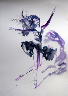 "ARTFINDER: The Dancer / 50 cm x 35 cm by Anna Sidi-Yacoub - Original Ink, Watercolor on Fabriano paper, representing a Dancer.  Dimension: 20"" x 14"" / 50 cm x 35 cm.  If you would like to purchase more than one Artw..."