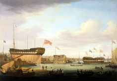 """Launching at East India Co. Yard, Blackwall on Thames"" - John Lynn 1826-1845 fl. Oil on canvas - Blue World Web Museum"