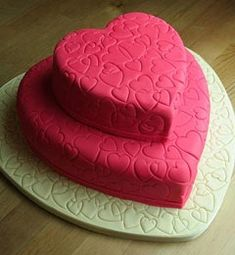 Valentine's day heart shaped red cake