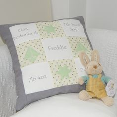 Grey and Mint Memory Cushion Perfect Memory, Handmade Cushions, Gender Neutral, Your Child, New Baby Products, Birth, Great Gifts, Memories, Throw Pillows