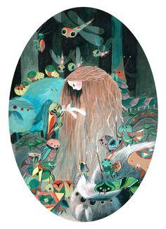 long red hair illustration