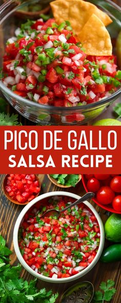 This fresh and tasty Pico de Gallo is my go-to topping for tacos, salads, nachos, tostadas, chilis, and more! It's also AMAZING scarfed with a mountain of tortilla chips to make an easy and delicious appetizer. Vegetarian + Vegan + Gluten-Free Best Vegetarian Recipes, Easy Delicious Recipes, Veggie Recipes, Mexican Food Recipes, Whole Food Recipes, Tasty, Ethnic Recipes, Veggie Meals, Veggie Food