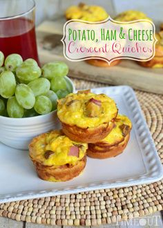 Potato, Ham and Cheese Crescent Mini Quiches are easy to make and fun to eat!- best to use with an oversize muffin tin. What's For Breakfast, Breakfast Dishes, Breakfast Recipes, Breakfast Pizza, Mini Quiches, Quiche Recipes, Brunch Recipes, Brunch Ideas, Dinner Ideas