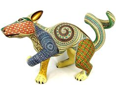 OAXACAN wood carving COYOTE by JACOBO & MARIA ANGELES - OAXACA - MEXICAN ART