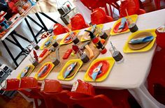 Firetruck party table setting. Perfect for any aspiring fire fighter!