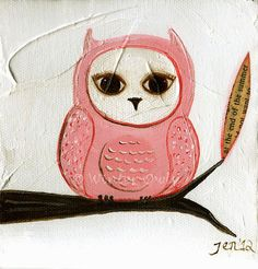 Pink Owl Print  Owl Painting  5  x 5 by WinterOwls on Etsy, $15.00