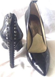 4e4ad9a4bfb9 Women s Michael by Michael Kors Black Leather Round Toe High Heel Pump Size  7 M