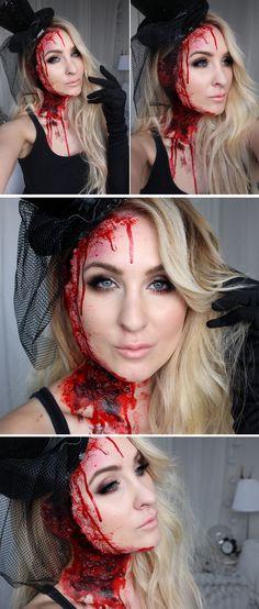 halloween tutorial face wound sår, fejk blod blood sfx specialeffekter hiilen sminkblogg skönhetsblogg