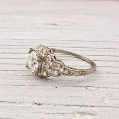 vintage engagement ring, so beautiful!! Image of .99 Old European Cut Diamond Engagement Ring