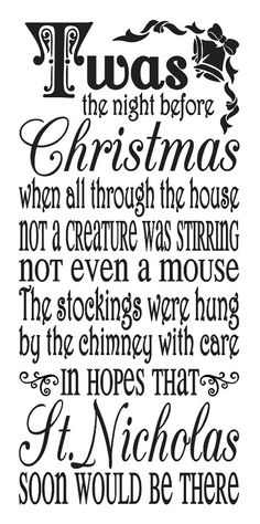 "Primitive Christmas/Holiday STENCIL **'Twas the night before Christmas**12""x24"" for Painting Signs, Airbrush, Crafts"