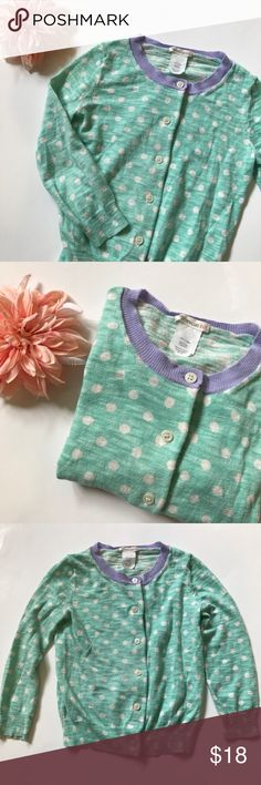 Crewcuts girls mint polka dot cardigan, size 4/5 Mint polka dot cardigan sweater from Crewcuts. Girls size 4/5. 100% cotton. Gently worn. No stains or holes. Crewcuts Shirts & Tops Sweaters