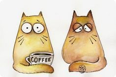 Maria van Bruggen Pookie cat with his pal in good in bad >OO<