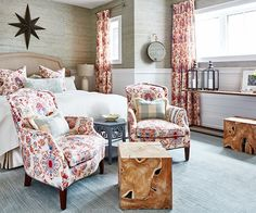 A red guest bedroom designed by Sarah Richardson for her family's off the grid house inspires us with its cozy cottage style, and I am sourcing the identical home decor and furniture from the space so you can shop for the same pieces! Elegant Home Decor, Elegant Homes, Guest Bedrooms, Guest Room, Sarah Richardson Bedroom, Babe, Patterned Chair, Patterned Furniture, Dream Bedroom