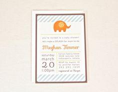 Elephant Baby Shower Invitation for boy or girl Orange & Blue Custom colors - digital printable PDF file. $15.00, via Etsy.