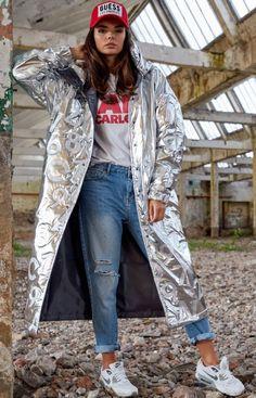 Awama Długa srebrna kurtka z kapturem A338 Duster Coat, Kimono Top, Jackets, Women, Fashion, Down Jackets, Moda, Fashion Styles, Jacket