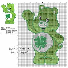 Good Luck Bear Care Bears character free cross stitch pattern 70 x 99 stitches 6 DMC threads