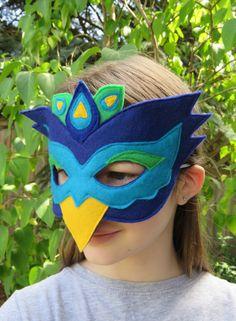 Felt Peacock Mask - Bird Mask - Masquerade - Carnival - Mardi Gras - Bird Costume - Halloween