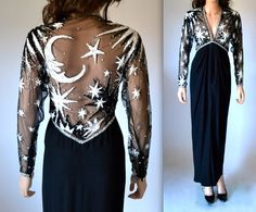 70s Vintage BOB MACKIE Dress Sequin Gown Size Small Medium with Moon and Stars Amazing by Hookedonhoney on Etsy https://www.etsy.com/listing/179653660/70s-vintage-bob-mackie-dress-sequin-gown