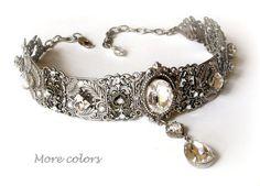 Bridal Swarovski Crystal Choker - Victorian Gothic Silver Choker - Bridal Necklace -Victorian Gothic Jewelry - Wedding Jewelry