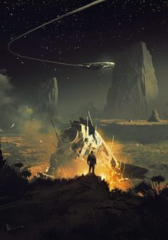 Ideas for science fiction concept dreams Arte Sci Fi, Sci Fi Art, Science Fiction Art, Science Art, Fantasy Landscape, Landscape Art, Landscape Architecture, Illustration Art, Illustrations