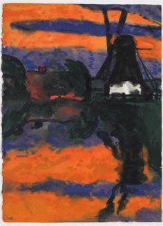 Emil Nolde, Abendlandschaft mit Mühle, 1925, Auktion 923 Moderne Kunst, Lot 216 #diebruecke #thebridge