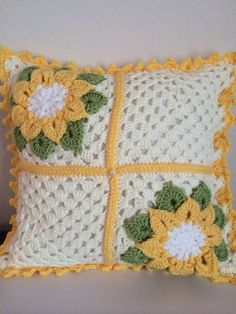 Crochet Pillowcase Crochet Pillow case Yellow Floral by cnicolae