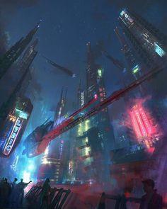 City Of Dreams — Art by Marek Mazur. Cyberpunk City, Cyberpunk 2077, Futuristic City, Cyberpunk Aesthetic, City Illustration, Landscape Illustration, Space Opera, Sci Fi City, City Drawing