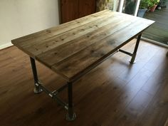 Reclaimed Scaffold board dining table Plank Top Dining Table 5x3