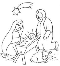 Scenes from the Bible: Jesus in the crib with Mary and Joseph to color Angry Birds, To Color, Cribs, Xmas, Christmas, Bible, Sketches, Joseph, Colors