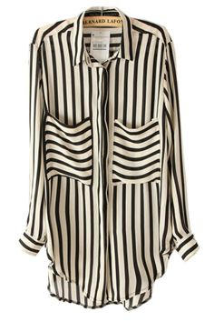 Striped Curved Hemline Loose Blouse
