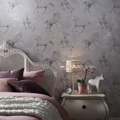 Arthouse Camarillo Horse Glitter Wallpaper in Silver - http://godecorating.co.uk/arthouse-camarillo-horse-glitter-wallpaper-silver/