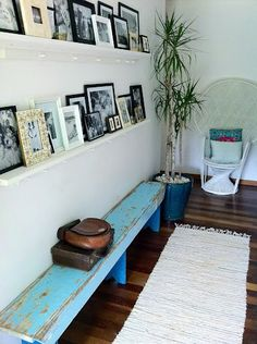 Great entrance bench, love the photos too, but would move higher up to avoid hitting my head