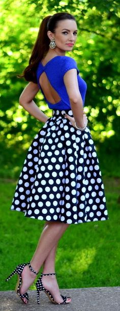 Polka Dot Skirt and Shoes Styling make a great look especially with this open back blue top. #WomensSkirt #WomensShoes.
