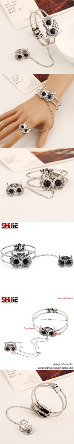 SHIJIE Vintage Lovely Owl Cuff Bracelets & Bangles for Women Silver color Chain Link Big Bracelet Men Wide Fashion Jewelry Gifts