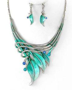 Silvertone Aqua Blue Leaf Statement Necklace and Earrings Set Fashion Jewelry: Jewelry: Amazon.com