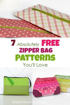 7 absolutely free zipper bag patterns you'll love! Use these free pouch patterns to make cute and practical zipper pouches  - perfect as pencil pouches, makeup bags, travel organizers, storage pouches, diy wet bags and more! #diypouch #zipperbag #sewing Bag Patterns To Sew, Easy Crochet Patterns, Sewing Patterns, Sewing Hacks, Sewing Tutorials, Homemade Bags, Baby Shower Items, Zipper Pouch Tutorial, Pouch Pattern