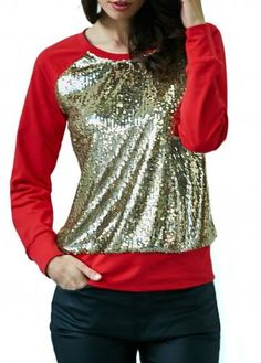 rotita.com - unsigned Long Sleeve Patchwork Sequin Embellished T Shirt - AdoreWe.com