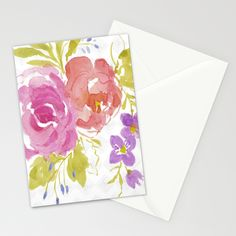 Two Roses Stationery Cards by Edith Jackson-Designs | Society6