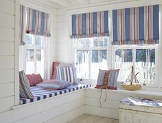 The Brighton Range of fabrics from Prestigious textiles. Available in Cushions, Curtains, and Roman Blinds. White Room Decor, White Rooms, Nautical Blinds, Beach Hut Interior, Beach Hut Decor, Prestigious Textiles, Coastal Living Rooms, Cottage Style Homes, Home Room Design