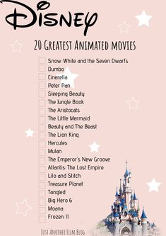May 2020 - Printable watchlist. The 20 Greatest Disney Animated movies! Cross off as you watch. Great Disney Movies, Disney Movies To Watch, Disney Animated Movies, Disney Original Movies List, List Of Animated Movies, Must Watch Netflix Movies, Good Movies On Netflix, Movie To Watch List, Film Recommendations