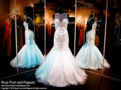 Powder Blue Beaded Mermaid Prom Pageant Dress-High Illusion Neckline-Open Back-115RA028200