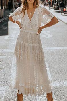 Women Fashion Dress For2021 Summer Casual Short Sleeved V-Neck Mid-Calf Lace Vestiods White Beachwear White Boho Dress, White Dress Summer, White Maxi Dresses, Maxi Dress With Sleeves, Floral Maxi Dress, Lace Dress, Green Dress, White Lace, Boho Summer Dresses