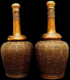 Malay Brass Bottles, Malaysia, Antique, Minangkabau