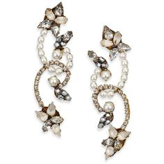 Erickson Beamon Swan Lake Crystal & Faux Pearl Drop Earrings ($130) ❤ liked on Polyvore featuring jewelry, earrings, apparel & accessories, gold, post back earring, crystal earrings, erickson beamon earrings, fake pearl earrings and crystal jewelry